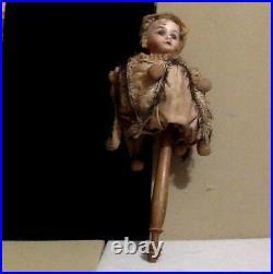 Antique Bisque Marotte (Musical Stick Doll) Armand Marseille. Est. 1800's. Rare