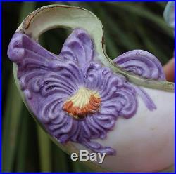 Antique Bisque Porcelain Art Nouveau figurine German Nymph purple flower vintage