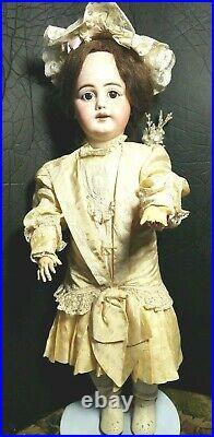 Antique Doll German Bisque 23 Dep Simon Halbig 1009 Human Hair Wig