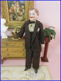 Antique Dollhouse Miniature Gentleman / Man Vintage Germany, Original Clothes