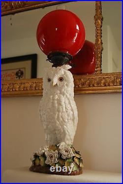 Antique Dresden German Meissen Area Porcelain Flower Snow Owl Oil Whimsical Lamp
