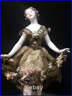 Antique French Candy Box with a Dressel and Kister Porcelain Ballerina Figure o