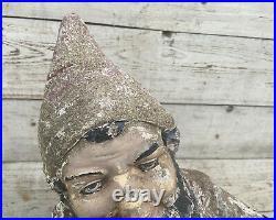 Antique Garden Gnome Vintage 23'' Vintage Cast Stone Concrete German Elf Statue