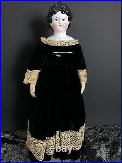 Antique German 27 Dolly Madison China Head Doll Molded Ribbon
