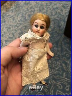 Antique German 5.5 Gebruder Kuhnlenz 44/14 All Bisque Mignonette Doll Blonde