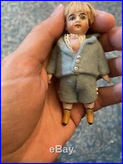 Antique German All Bisque 3.5 Yellow Boot KestnerDoll All Original Dollhouse