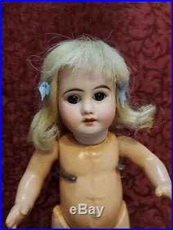 Antique German Bisque Head Toddler Straight Leg Mystery Doll Paperweight Eyes