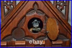 Antique German Black Forest Cathedral Style Mantel Cuckoo Clock Late 1800's