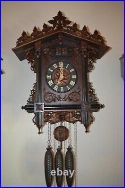 Antique German Black Forest Furderer Jaegler Quail Train Style Cuckoo Clock 1800