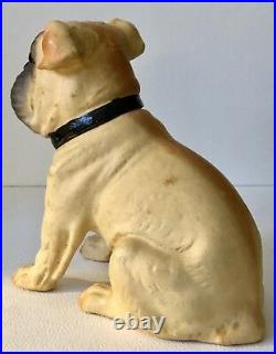 Antique German Bulldog Dog Glass Eyes Papier Mâché Paper Candy Container Rare