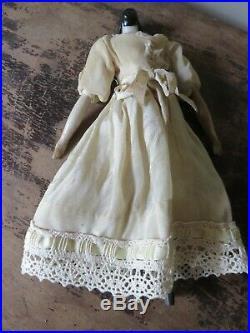 Antique German China Head Doll Bun Head 1840's with Wood Limbs Muslin Body