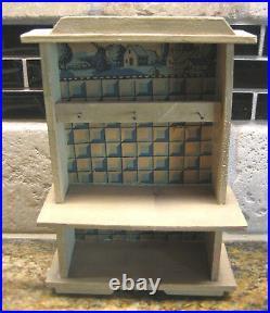 Antique German Delft blue white kitchen miniature doll house Room Box
