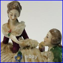 Antique German Dresden Volkstedt Lace Porcelain Group Man & Woman ONE BROKEN ARM