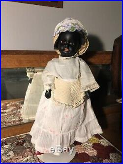 Antique German Ebony Black Armand Marseille Bisque Head Doll, 1885-on