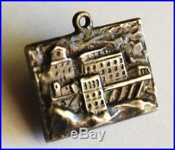 Antique German Engraved 800 Silver POSTCARD Charm Schneeferner Haus Vintage Alps