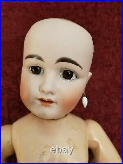 Antique German/French Bisque Head Jointed Chunkie Body 44-33 DEP BeBe Doll 28