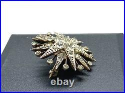 Antique German Gold On Sterling Silver Sparkly Diamond Paste Starburst Brooch