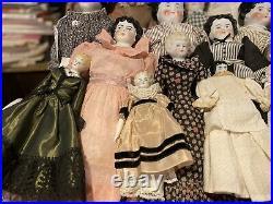 Antique German Lot Of 24 Early China Head Dolls From 7 To 20 From 1860-1890