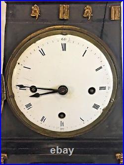 Antique German Mantel Clock Enameled Dial Wood Case Crowned Eagle Trim