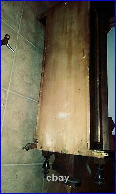 Antique German Mechanical PENDULUM winding Wall clock RA wood quartz RARE WOODEN