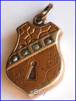 Antique German Padlock w Pearls Silver Gilded Charm Vintage