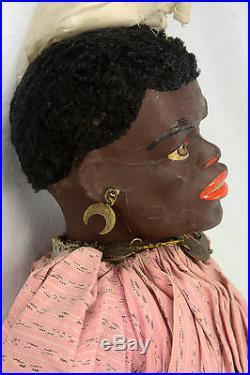 Antique German Paper Mache Black Character Doll ca1900