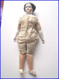Antique German Porcelain China Head Doll CIVIL War Flat Top High Brow Vintage