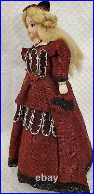 Antique German Simon Halbig Bisque Shoulder Head Dollhouse 1160 Lady Doll with Dog