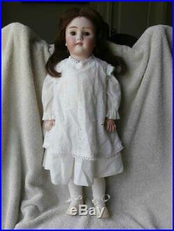 Antique German Simon Halbig Heinrich Handwerck Bisque Head Doll 24 Pierced Ears