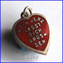 Antique German Song Lyrics Enameled Heart Pendant Charm Vintage MY HEART GREET
