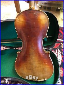 Antique German Stainer Copy 4/4 Violin, Repair Parts -Vintage Withcase And Bow
