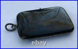Antique German Sterling Silver Black Enamel Mourning Locket Pendant Germany