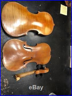 Antique German Strad Copy 4/4 Violin, Repair Parts Vintage. Experimental. Old