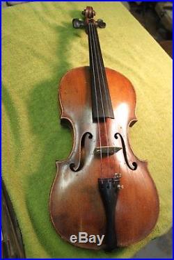 Antique German Violin 4/4 Vintage Fiddle Germany one piece back