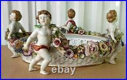 Antique German Von Schierholz Porcelain Cherubs Centerpiece, 6.75 x 15.25