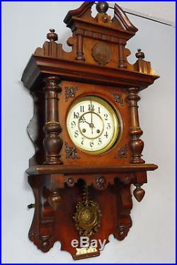 Antique German Wall Clock in Mahogany Wood Old Clock Vintage Regulator