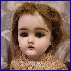 Antique Handwerck #1 German Bisque Doll Sleep Eyes Teeth Earrings Wood Joint 17