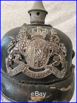 Antique Imperial German Bavarian / Bayvern Pickelhaube Helmet, Vintage WWI