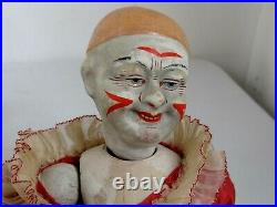 Antique Jointed German Paper Mache Clown Pierrot Doll Hand Painted 12 tall