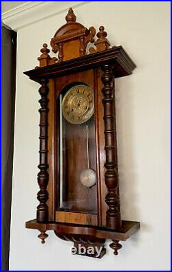 Antique Junghans German Vienna Regulator Wall Clock Ornate Case