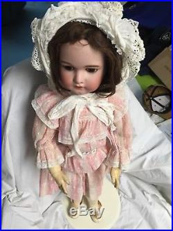 Antique Large 29Simon & Halbig 1079 Bisque Head Doll With Vintage Pink Dress
