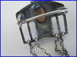 Antique Opal Silver Brooch / Pendant German Arts & Crafts Jugendstil Carl Braun