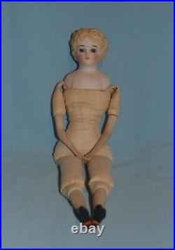 Antique Parian China Doll, Glass Eyes, Milliner Model Style Original Clothes
