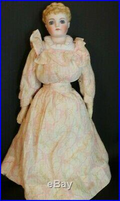 Antique Parian Doll w Glass Eyes 19 IN Fancy Hairdo Molded Collar, Pierced Ears