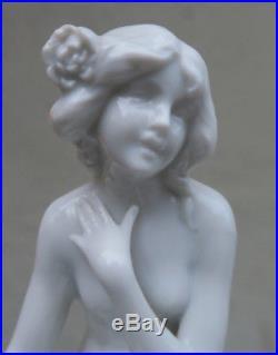 Antique Porcelain old vintage German Nude lady bathing beauty flower Frog LOTUS