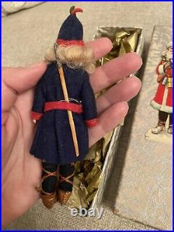 Antique Rare All Original Alpine Christmas Bisque Mignonette Doll Christmas Box