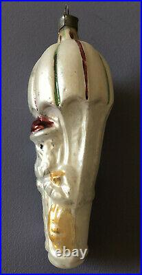 Antique SANTA in PARACHUTE Figural Embossed German Glass Christmas Ornament Vtg