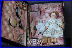Antique Trousseau Dowry w Bisque Doll Armand Marseille Closed Mouth 1915 Poupée