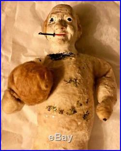 Antique VTG Cotton John Bull Composition Head Cigar German Christmas Ornament