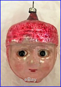 Antique VTG Flesh Face Joan of Arc Glass Eyes Glass German Christmas Ornament